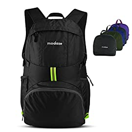 modase Large 35L Travel Backpack Durable Travel Hiking Backpack Daypack - Water Resistant Lightweight Packable Backpack 6 Hiking Backpack, DURABLE - The backpack is made from highly rip and water resistant nylon fabric, provide strengthen and long-lasting performance with minimal weight. Stress points are reinforced with bar tacking for increased longevity. Durable 2-way Abrasion Resistant SBS Metal Zipper across the backpack. COMFORTABLE - Breathable mesh shoulder straps with plentiful sponge padding help relieve the stress from your shoulder.Easy to adjust the length and lock firmly. The chest strap with a whistle buckle help you lock your backpack in place securely. LIGHTWEIGHT(0.6 Pounds) and ROOMY(35 Liters) - A true space saver. Stuff the bag into its own pocket for storage--- No extra fees, and unzip it when you reach your destination. Avoid overweight charges, simply unfold from your luggage and use it as a carry on for your excess baggage.