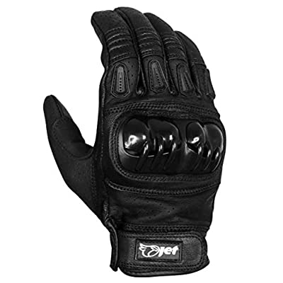 JET Motorcycle Motorbike Gloves Leather Vented Hard Knuckle Touch Screen Gloves Men ATV Riding KOBI (L, Full Black): Automotive