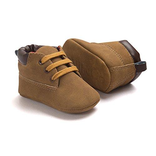 Zapatos de bebé Auxma Bebé niña niño zapatos,cuero suela suave infantil niño zapatos con cordones marrón