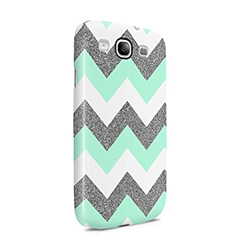 Mint Green Chevron Glitter Sparkle Print Patttern Plastic Phone Snap On Back Cover Shell For Samsung Galaxy (Galaxy S3 Case Native)