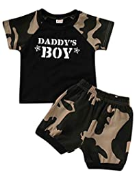 SUPEYA Baby Boy Father's Day Outfit Camouflage Short Sleeve T-Shirt Tops+Short Pants