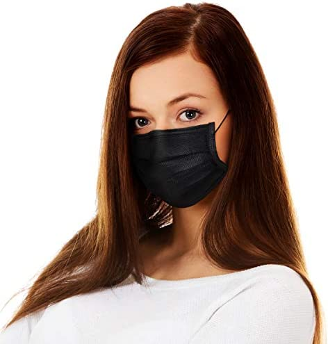 50 Pack Disposable Black Face Mask Cover for Adults, Dustproof Filter Cover, Single Use 3 Ply Protectors with Elastic Earloops Dustproof Filter Cover