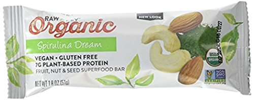 Raw Rev Organic Superfood Bar, Spirulina Dream, 1.8 Ounce Bar (Pack of 12) 7g Protein, 2g Fiber, Vegan, Raw, Organic, Plant-Based, Gluten-Free, Fruit, Nut, & Seed Bars (Pure Food Organic Vegan Greens Protein Bar)