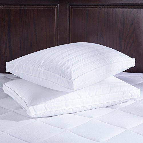 PUREDOWN Down Bed Pillow, 600 Filling Power, 2 Washable Cotton Covers, White, Set of 2, King Size - Gusseted Square Pillow