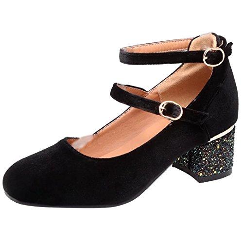 AIYOUMEI Damen Chunky Heel Pumps mit 5cm Absatz Blockabsatz Glitzer Absatzschuhe Schwarz
