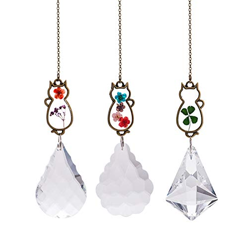 Crystal Suncatcher with Real Embedded Pressed Flower Cats Hanging Pendant Prism Window Ornament Decoration Pack of 3