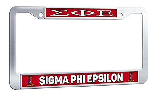 SIGMA PHI EPSILON License Plate Frame Customized Auto License Plate Frame With Logo, Stainless Steel With Bolts Caps