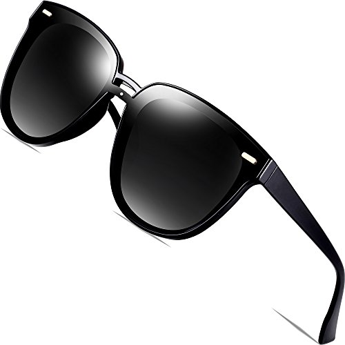 SIPLION Women's Wayfarer Sunglasses For Women Polarized And UV Protection D177 - Wayfarer Sunglasses All Black