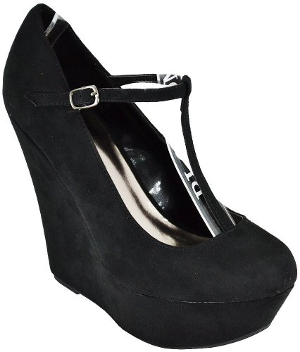Breckelle Cilo-15w Black Wedge Pumps Donna, 8 M Us