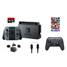 Nintendo Switch 6 items Bundle:Nintendo Switch 32GB Console Gray Joy-con,128GB Micro SD Card,Nintendo - Pro Wireless Controller,Mario Kart 8 Deluxe,Mytrix HDMI Cable and Wall Ch(US Version, Imported)