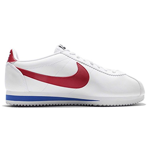 Nike Wmns Classic Cortez Leather, Zapatillas de Gimnasia para Mujer White/Varsity Red
