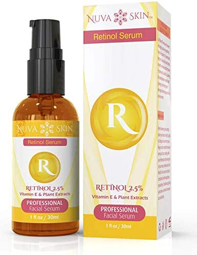 Nuva Skin Retinol Serum 2.5% with Hyaluronic Acid, Vitamin E & C - Firming & Tightening Face & Neck Cream Boosts Collagen Production, Reduces Wrinkles & Fine Lines – Acne Treatment for Even Skin Tone