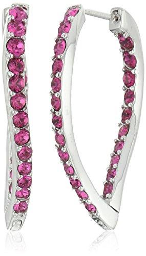 Sterling Silver Fuchsia Crystal Earrings