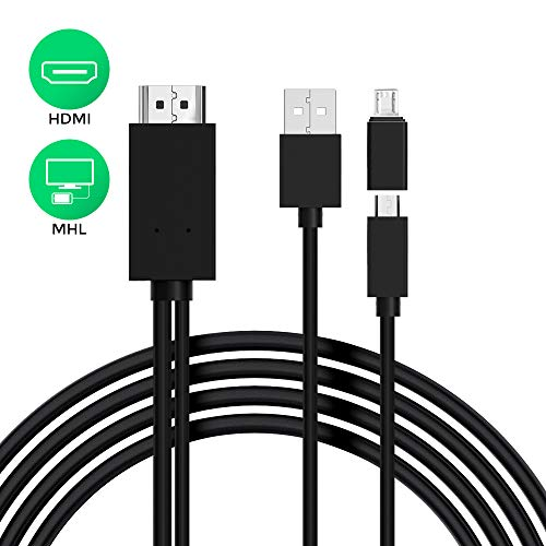 High Speed HDMI Cable, MHL to HDMI Adapter Cable 6 Feet, Micro USB to HDMI Adapter Converter Cable for Tablets, PCs, and Android Samsung Smart Phones,Support 1080P High Resolution.(5PIN+11PIN) (Black) (Mhl Micro Usb To Hdmi Adapter Converter Cable)