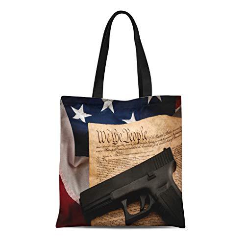 Semtomn Canvas Tote Bag Shoulder Bags the Second Amendment and Gun Control in America Handgun Women's Handle Shoulder Tote Shopper Handbag