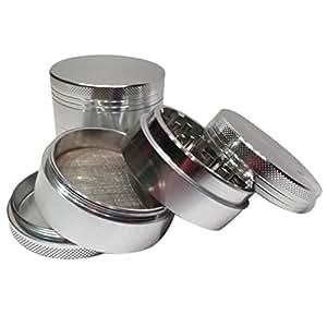 Gotd Grind Herb & Spice Grinder 4-layer Aluminum Herbal Herb Tobacco Smoke Grinders Tools 1.6 Inch (Silver)