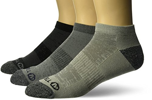 Merrell Men's 3 Pack Cushioned Performance Hiker Socks (Low/Quarter/Crew Socks), Charcoal Black (Low), Shoe Size: 9.5-12