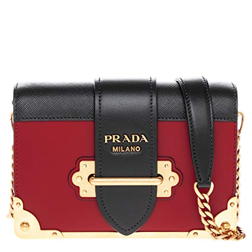 Prada Women's Cahier Leather Bag Red with Gold Hardware