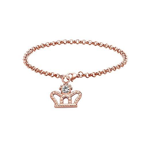 Dec.bells Crystal Crown Bracelet Rose Gold Charm Bracelet Chain Birthday Gift Teen Girl Jewelry (Rose Gold (Princess Gold Crown Charm)