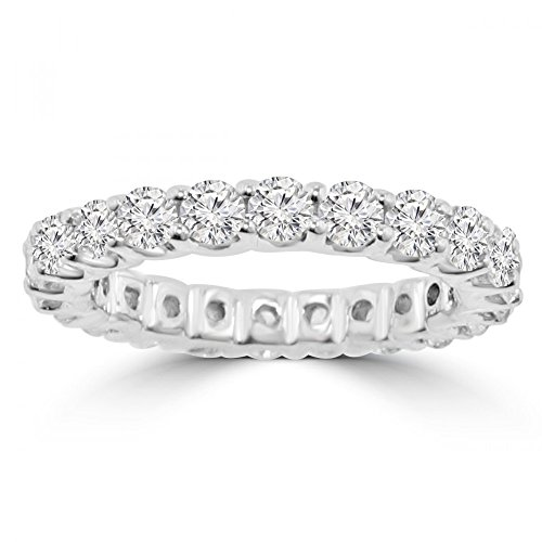 2.21 ct Ladies Round Cut Diamond Eternity Wedding Band (Color G Clarity SI-1) in 14 kt White Gold In Size 11 by Madina Jewelry