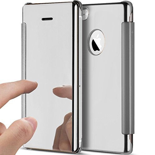 iPhone 5S Case,iPhone 5 Case,iPhone SE Case,ikasus Ultra-Slim Luxury Shock-Absorption Clear View Flip Electroplate Plating Mirror Cover Flip Protective Case Cover for iPhone 5S 5 SE,Silver
