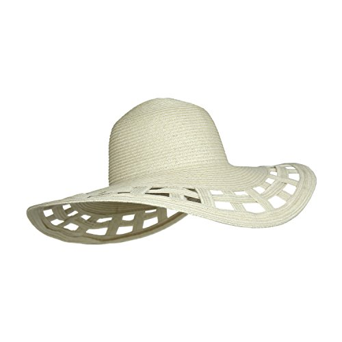 Natural Straw Sombrero (Natural Straw Derby Sun Hat w/Square Cut-Outs, Wide Brim Floppy Beach Cap)