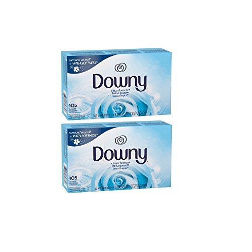Downy Clean Breeze fabric softener sheets (105ct, Clean Breeze) (2 Pack) by Downy