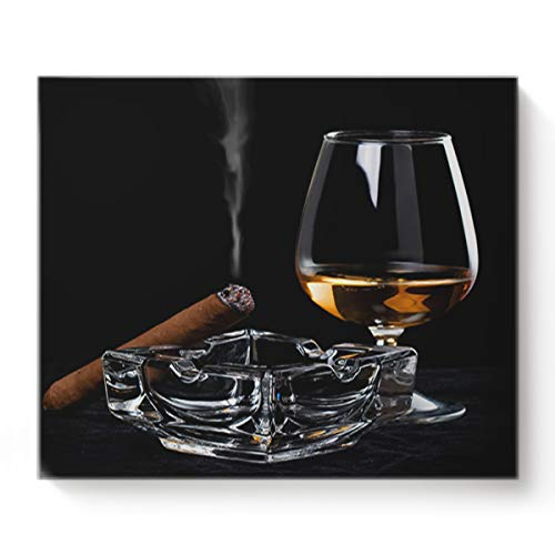 Canvas Print Wall Art Ashtray Cigar Wine Glass Unhealthy Habit Wall Decor Paintings Pictures for Living Room Modern Artwork Stretched and Framed Ready to Hang 16