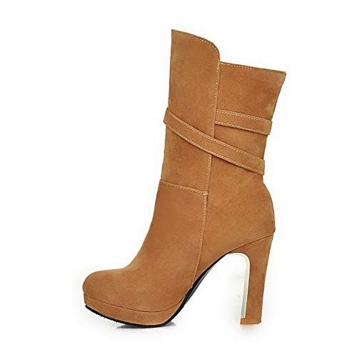 AllhqFashion Womens Imitated Suede Mid Top Solid Buckle High Heels Boots Camel 3mqf3P