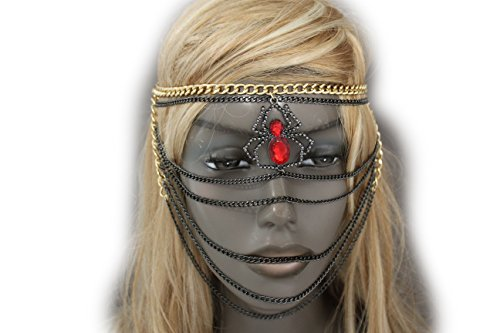TFJ Women Halloween Face Mask Scary S&m Fashion Jewelry Accessory Gold Black Metal Chain Web Spider (Sm Halloween Contest)