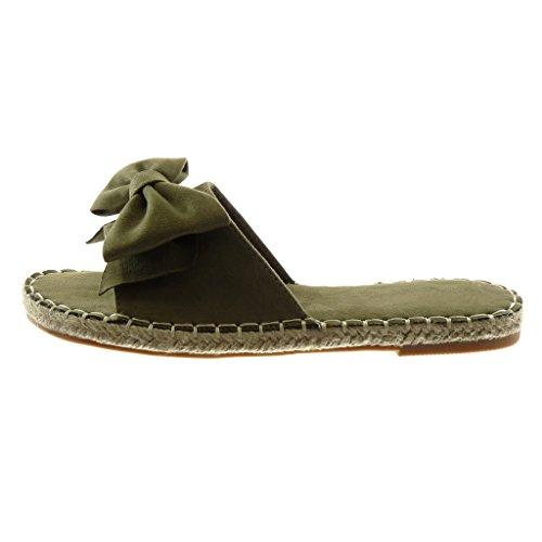 Angkorly Zapatillas Moda Sandalias Mules Slip-On Mujer Nodo Acabado Costura pespunte Cuerda Tacón Ancho 1.5 cm Verde