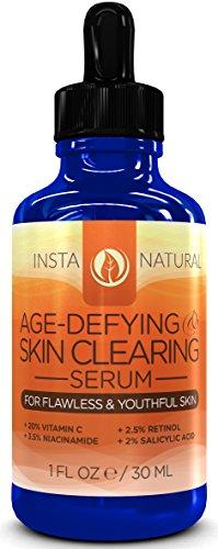Витамин С Сыворотка 20% с ретинолом 2,5%, салициловая кислота 2%, гиалуроновая кислота, ниацинамид, масло чайного дерева и МСМ - Anti Aging И очищения кожи Сыворотка для лица, прыщи и пятна - Лучший для мужчин и женщин для всех типов кожи - также Уменьшае