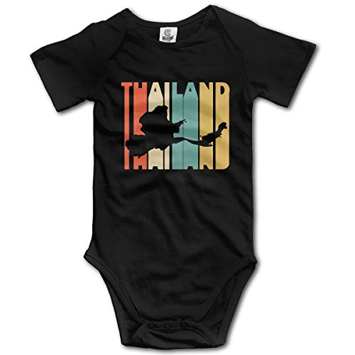 Short Sleeve Cotton Rompers for Baby Boys and Girls, Soft Retro Style Thailand Silhouette Crawler Black ()