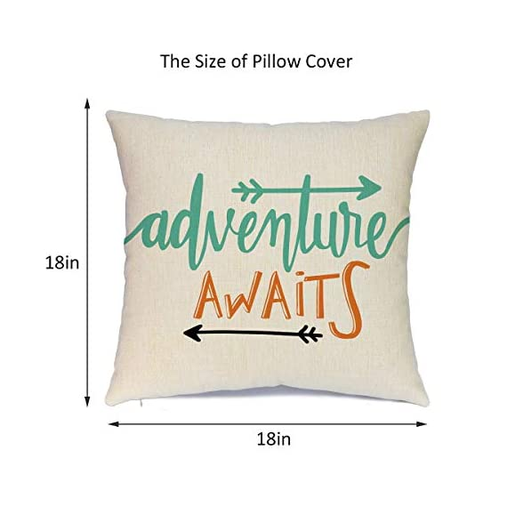 Calayinuo Set of 4 Adventure Arrows Throw Pillow Covers Cushion Case Outdoor Pillow Case Decor for Car Sofa Bed Couch 18 x 18 Inch - Suitable Occasions: Can be applied for home decoration at festival, also suitable for special parties and events High quality: Breathable linen fabric and handmade make it comfortable, durable, beautiful. Machine washable and the hands washable. The pattern does not fade. Hight quality hidden zipper to meet an elegant look What You Get: Brand new 4 PCS 18 x 18 inch Pillow Cover, No Insert and Filler. Our pillow cover fits 18x18 inch insert or smaller insert. Pattern is only on the front and no printing on the back - patio, outdoor-throw-pillows, outdoor-decor - 41O9iDhXgQL. SS570  -