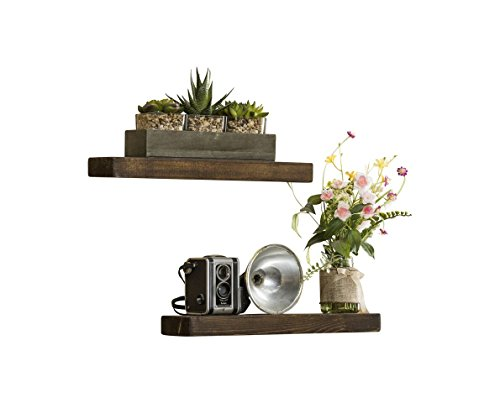 Del Hutson Designs-Rustic Pine Floating Shelves (Dark Walnut, 16 Inch)