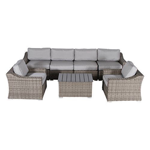 Century Modern Outdoor Marina Collection Patio Sofa Set, Wicker Rattan Outdoor Seating Aluminum Frame Resort Grade Furniture with Cushioned Seat by (7 Piece Club Style)
