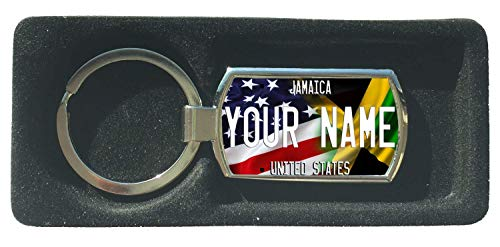 BRGIftShip Personalize Your Own Mixed USA and Jamaica Flag Metal Keychain