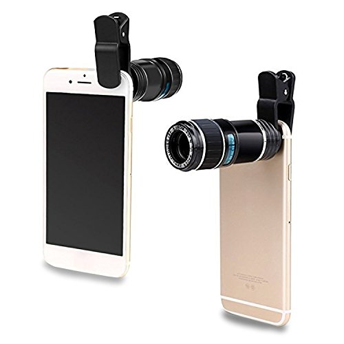Upgraded Design Professional Cellphone Camera Lens, Universal 12X Telephoto Lens, Clip-on Phone Camera Lens, Camera Attachment for iPhone 8, iPhone 7, and Android Most Smartphones