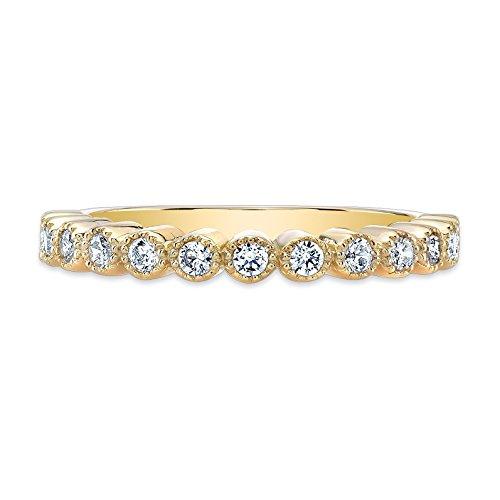 Guliette Verona's 14K Yellow Gold Princess Crown CZ Cubic Zirconia Ring Band (14k April Birthstone Ring)