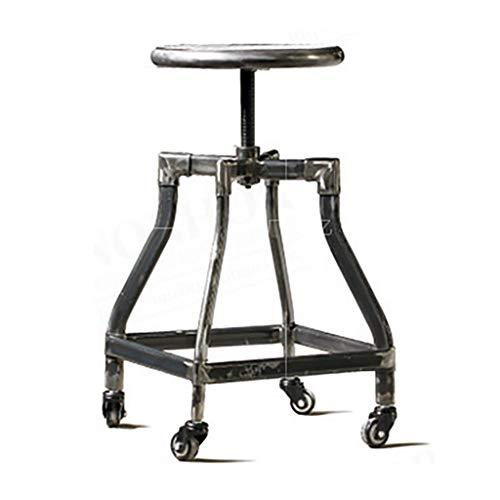 PLLP Sillas de comedor, taburetes, taburete industrial para el hogar, taburete de desayuno con ruedas, taburetes de madera maciza, taburetes de metal y hierro que pueden levantar y restaurar taburete