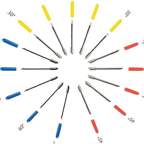 LGDehome CB09 Graphtec - Soporte para cuchillas (15 piezas, cuchillas de corte de precisión, plotter, cortador de vinilo, silueta, 1 soporte de cuchilla + 15 cuchillas de 30/45/60 grados con 15 muelles +