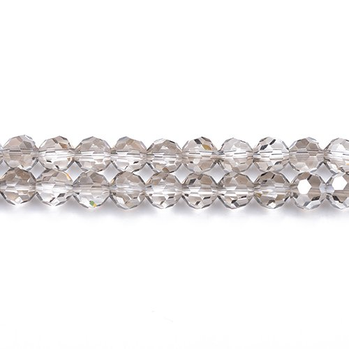 Strand 70+ Grey Czech Crystal Glass 8mm Faceted Round Beads GC3546-3 (Charming Beads)
