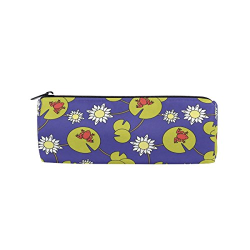 Funny Print Frogs Pencil Bag Pen Case Stationery Pouch Coin Purse with Zipper for School Work ()