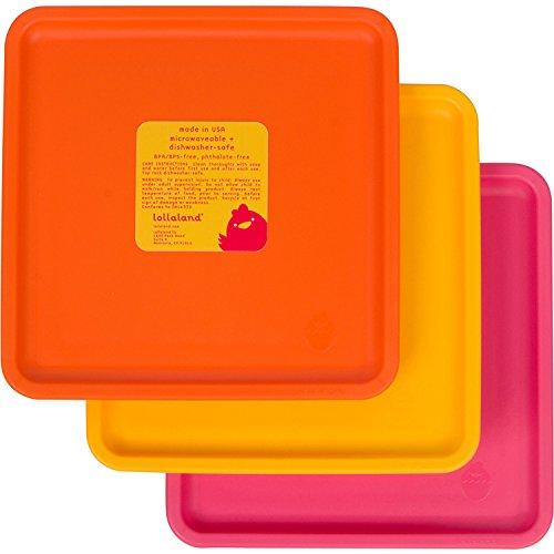 Lollaland Toddler Plates   Kids Plates Set   Baby Kid Toddler Dishes   Colorful Square Plate Sets Dish Sets   3 Pack Mealtime Set for Kids