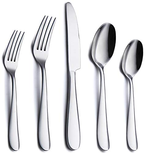 (Silverware Set, 20 Piece Stainless Steel Flatware Silverware Set, Mirror Polishing Modern Cutlery Service for 4, Utensils Set Include Knife/Fork/Spoon, Dishwasher Safe)