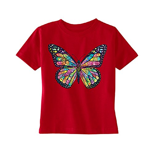 Zexpa Apparel Colorful Cute Butterfly Toddler T-Shirt Official Dean Russo Kids Red 3T ()