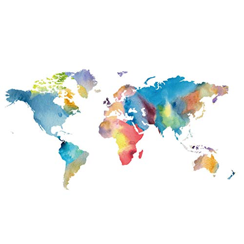 Jaromepower Large Kids Educational Colourful Creative Watercolour World Map Peel & Stick Wall Stickers,Home Decor Art for Nursery Kids Room Wall Decal,Livingroom Bedroom Wall Paper