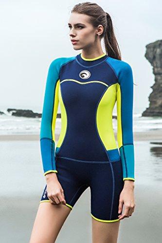Micosuza Womens Shorty Wetsuit Long Sleeve 1.5MM Neoprene Back Zip Winter  Swimwear Long Sleeve Diving e18c42c1a