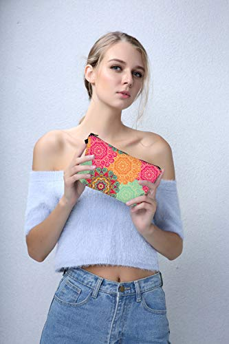 Cosmetic Bag for Women,Deanfun Mandala Flowers Waterproof Makeup Bags Roomy Toiletry Pouch Travel Accessories Gifts (51560)