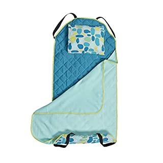 ECR4Kids Toddler Nap Mat Companion - Portable All-in-One Preschool/Daycare Nap Bundle with Built-in Liner, Blanket and Removable Pillow, Teal Pebbles Design